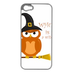 Halloween Orange Witch Owl Apple Iphone 5 Case (silver)