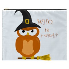 Halloween Orange Witch Owl Cosmetic Bag (xxxl)