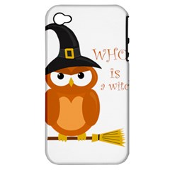 Halloween Orange Witch Owl Apple Iphone 4/4s Hardshell Case (pc+silicone)