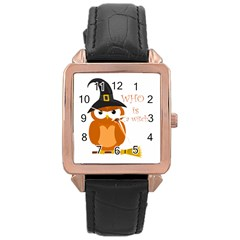 Halloween Orange Witch Owl Rose Gold Leather Watch
