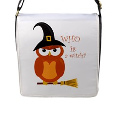 Halloween Orange Witch Owl Flap Messenger Bag (l)