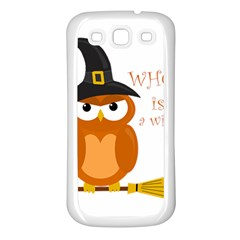 Halloween Orange Witch Owl Samsung Galaxy S3 Back Case (white)