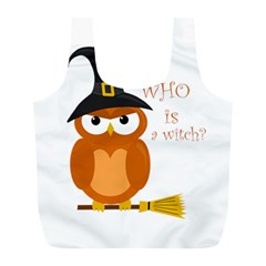 Halloween Orange Witch Owl Full Print Recycle Bags (l)
