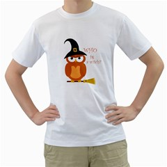 Halloween Orange Witch Owl Men s T Shirt (white)