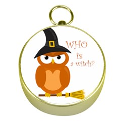 Halloween Orange Witch Owl Gold Compasses
