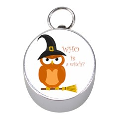 Halloween Orange Witch Owl Mini Silver Compasses