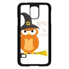 Halloween Orange Witch Owl Samsung Galaxy S5 Case (black)