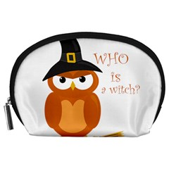 Halloween Orange Witch Owl Accessory Pouches (large)