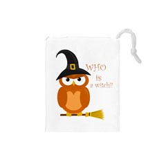 Halloween Orange Witch Owl Drawstring Pouches (small)