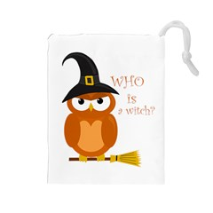 Halloween Orange Witch Owl Drawstring Pouches (large)