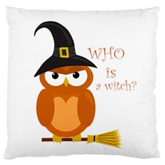 Halloween Orange Witch Owl Large Flano Cushion Case (two Sides)