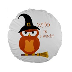 Halloween Orange Witch Owl Standard 15  Premium Flano Round Cushions
