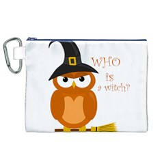 Halloween Orange Witch Owl Canvas Cosmetic Bag (xl)