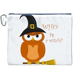 Halloween Orange Witch Owl Canvas Cosmetic Bag (xxxl)