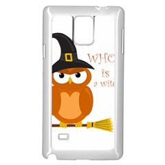Halloween Orange Witch Owl Samsung Galaxy Note 4 Case (white)