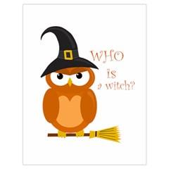 Halloween Orange Witch Owl Drawstring Bag (large)