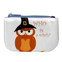 Halloween Orange Witch Owl Large Coin Purse