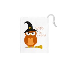 Halloween Orange Witch Owl Drawstring Pouches (xs)