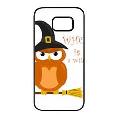 Halloween Orange Witch Owl Samsung Galaxy S7 Edge Black Seamless Case