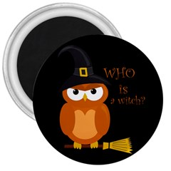 Halloween Orange Witch Owl 3  Magnets