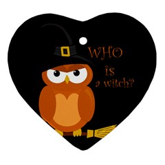 Halloween Orange Witch Owl Ornament (heart)