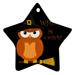 Halloween Orange Witch Owl Ornament (star)