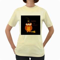 Halloween Orange Witch Owl Women s Yellow T Shirt