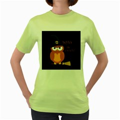 Halloween Orange Witch Owl Women s Green T Shirt