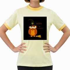 Halloween Orange Witch Owl Women s Fitted Ringer T Shirts