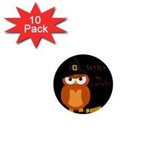 Halloween Orange Witch Owl 1  Mini Buttons (10 Pack)