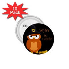 Halloween Orange Witch Owl 1 75  Buttons (10 Pack)