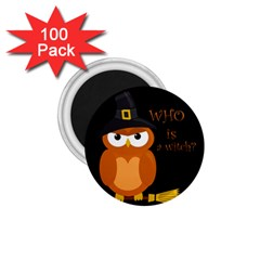 Halloween Orange Witch Owl 1 75  Magnets (100 Pack)