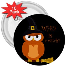 Halloween Orange Witch Owl 3  Buttons (10 Pack)