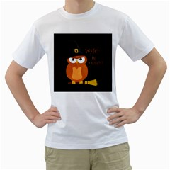 Halloween Orange Witch Owl Men s T Shirt (white) (two Sided)