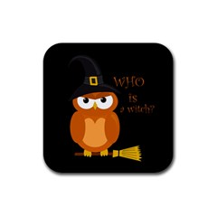 Halloween Orange Witch Owl Rubber Square Coaster (4 Pack)