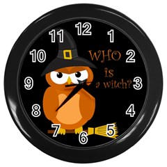 Halloween Orange Witch Owl Wall Clocks (black)