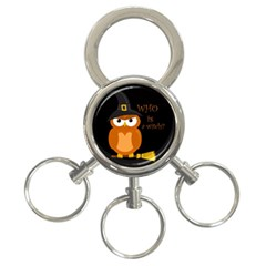 Halloween Orange Witch Owl 3 Ring Key Chains
