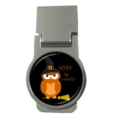 Halloween Orange Witch Owl Money Clips (round)