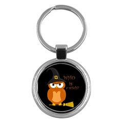 Halloween Orange Witch Owl Key Chains (round)
