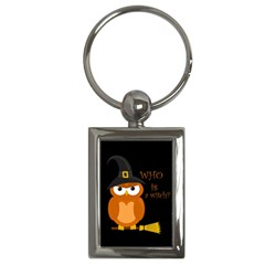 Halloween Orange Witch Owl Key Chains (rectangle)