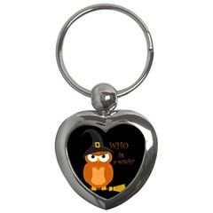 Halloween Orange Witch Owl Key Chains (heart)