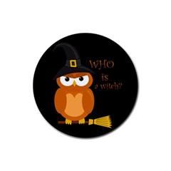 Halloween Orange Witch Owl Rubber Coaster (round)