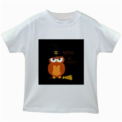 Halloween Orange Witch Owl Kids White T Shirts