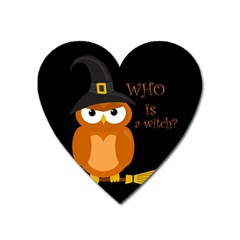 Halloween Orange Witch Owl Heart Magnet