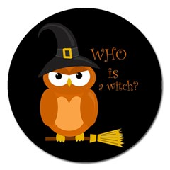 Halloween Orange Witch Owl Magnet 5  (round)