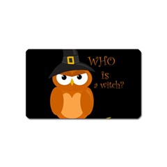 Halloween Orange Witch Owl Magnet (name Card)