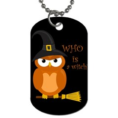 Halloween Orange Witch Owl Dog Tag (one Side)
