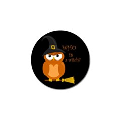 Halloween Orange Witch Owl Golf Ball Marker