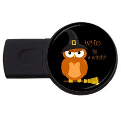 Halloween Orange Witch Owl Usb Flash Drive Round (2 Gb)