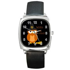 Halloween Orange Witch Owl Square Metal Watch